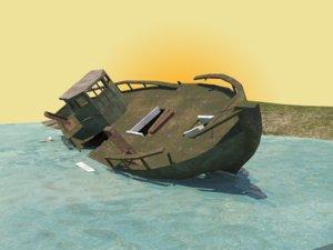 fishing wrecked boat model