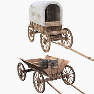 3D covered wagons
