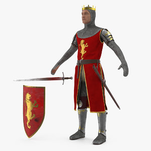 crusader knight king t-pose 3D model