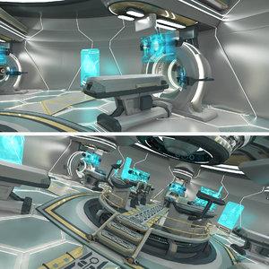 scifi futuristic labratory control 3D model