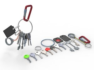 3D set keys chain carabiner