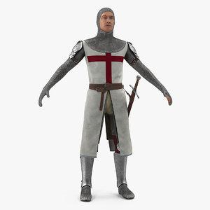 3D model knight templar t-pose