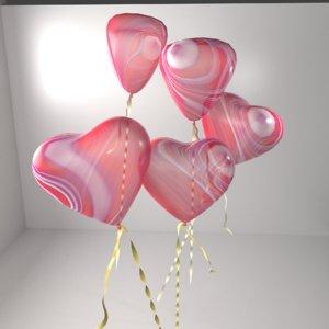 marble heart shape balloon 3D model