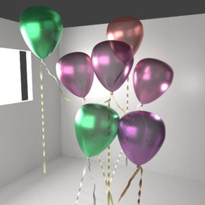 3D random color metallic balloon model