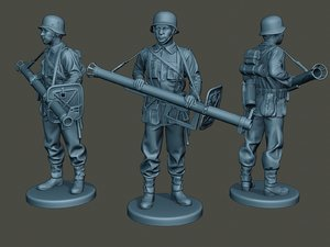 german soldier ww2 stand 3D