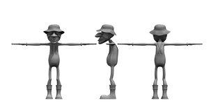 3D fisher man cartoon model