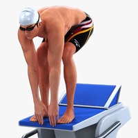 animations male swimmer swimming 3D