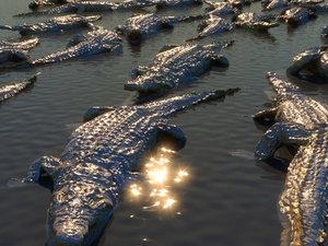 nile crocodiles hd 3D model