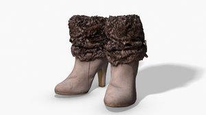 fur trim heel boots 3D model