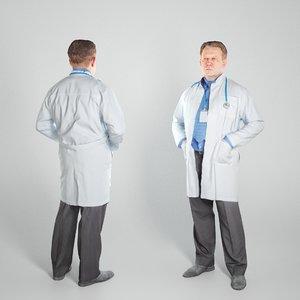 3D middle-aged man uniform medical