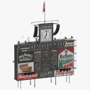 baseball classic scoreboard 3D