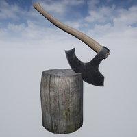 medieval axe stump set 3D