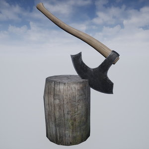 medieval axe stump set 3D