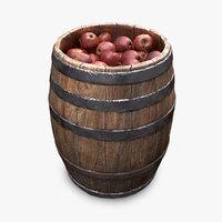 market wooden barrel 3D model