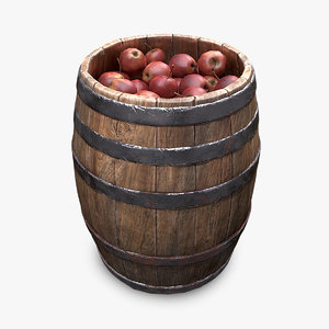 market wooden barrel 3D model