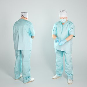 3D middle-aged man uniform surgeon