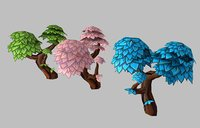 Low poly hand painted stylized cartoon style tree set