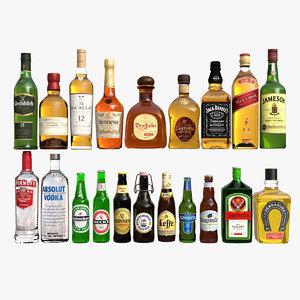 liquor bottles 3D