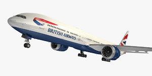 3D boeing 777-9 aircraft british airways model