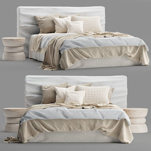 3D zulu upholstered bed white