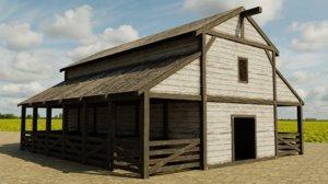 3D model medieval stable