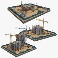 3D 3 construction scenes