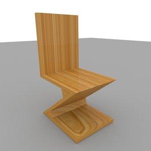 3D wood zig zag chair furniture model