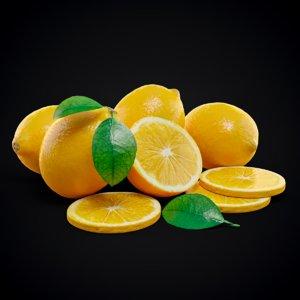 lemon fruit set 3D model