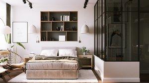 modern bedroom interior scene 3D