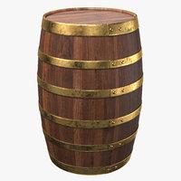 Wooden Barrel Walnut Brass