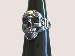 3D model skull signet rings silver