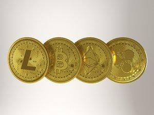 crypto coin set - 3D model