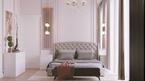 3D model modern bedroom interior scene