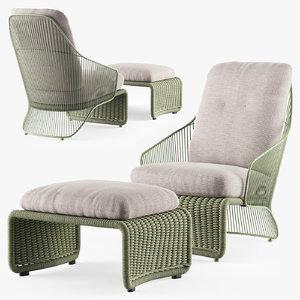 minotti colette outdoor armchair 3D model