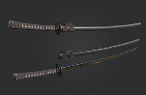katana sword japan 3D model