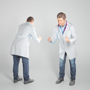 3D model man uniform medical doctor