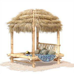 bamboo bed sand 3D model