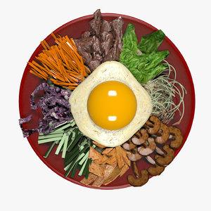 korean food soup pibimpab 3D model