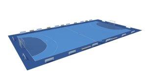 3D handball court ball model