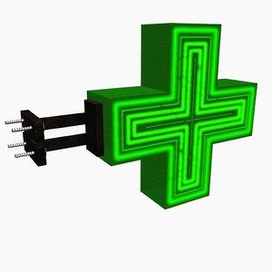 3D pharmacy sign model