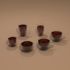 set glass cups 3D model