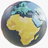 3D model geopolitical earth globe