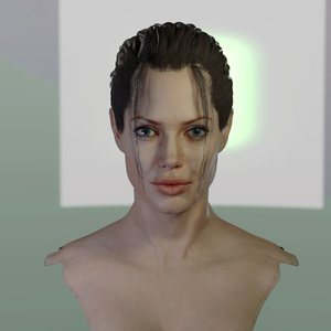 3D angelina jolie head celebrity model