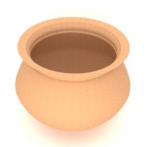 3D clay pot model