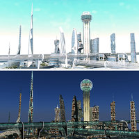 3D realistic future city 2 model