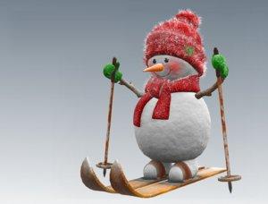 3D snowman skier model