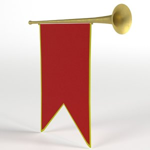 3D small medieval trumpet banner
