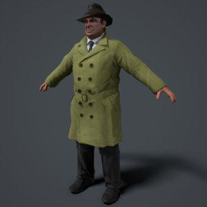 noir detective character 3D