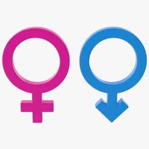 3D model male female symbol