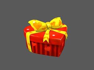 3D heart gift box model
